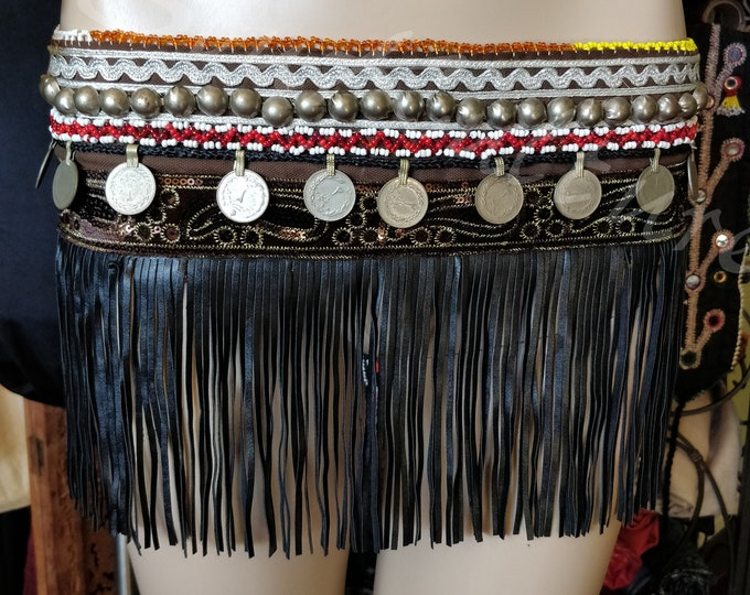 Featured listing image: SKIRT FRINGE BELT or Top Tribal Bellydance - Handmade Turkmen Belt  belt with faux leather fringe rupees beads buttons and beaded medallions