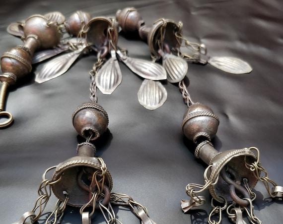 """TURKMEN JOGHIR TASSEL 15"""" Vintage Turkmen Joghir Tassel with large chiming bells and oversize beads metal diy tribal décor, tribal dancers"""