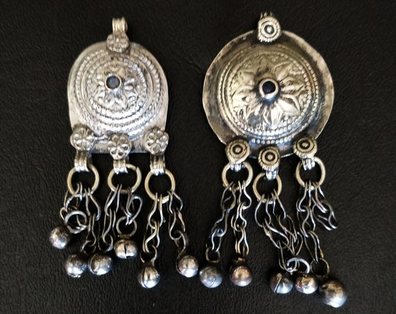 KUCHI TRIBAL PENDANTS Vintage Waziri pendants with flower bails, bell dangles, embossed etched domed with jewel settings diy cosplay jewelry