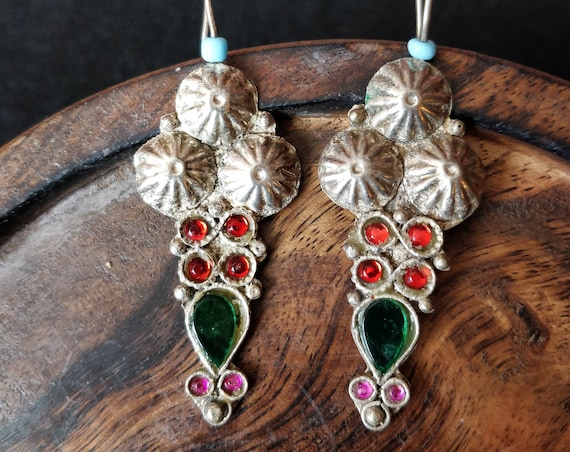 COLORFUL KUCHI EARRINGS High Polish Vintage Kuchi Earrings, 3 etched domes, emerald tone teardrop jewels settings, red & pink oval settings