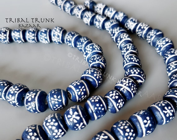 Beads ETCHED CERAMIC BEADS Large Hole Strand of 23 cobalt and white etched ceramic beads  West Africa Vintage Fair Trade