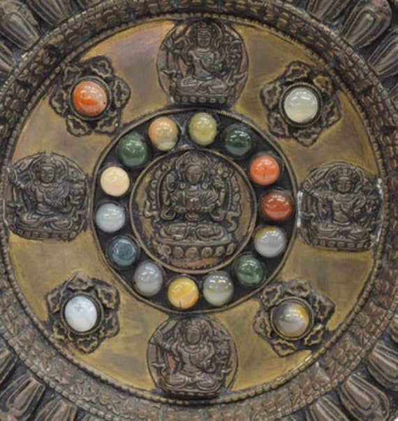 TIBETAN MANJUSHRI WALLPLATE Vintage Southeast Asian ornate wallplate with raised Manjushri and glass agate cabochons Tibetan wall decor