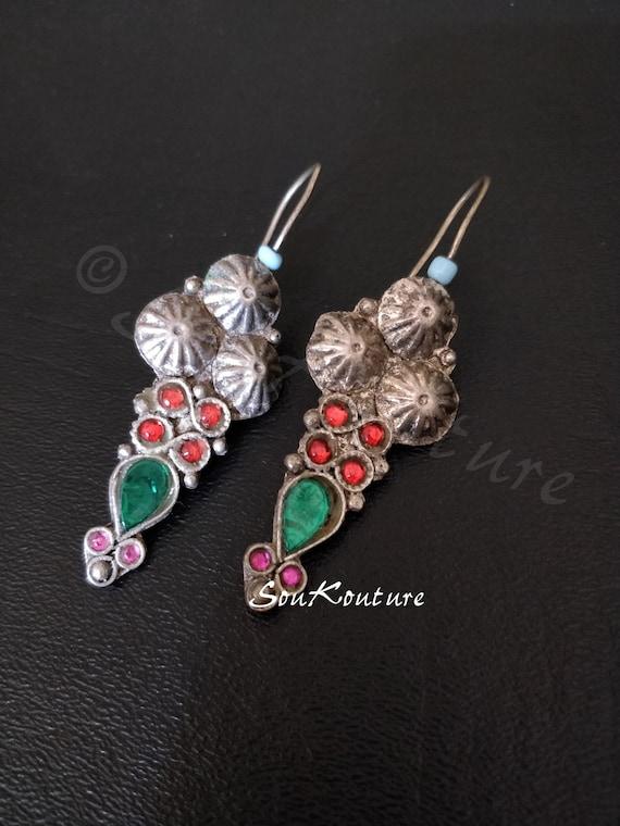 COLORFUL KUCHI EARRINGS High Polish Vintage Kuchi Earrings, 3 etched domes, emerald tone teardrop jewels settings, red & pink oval settings