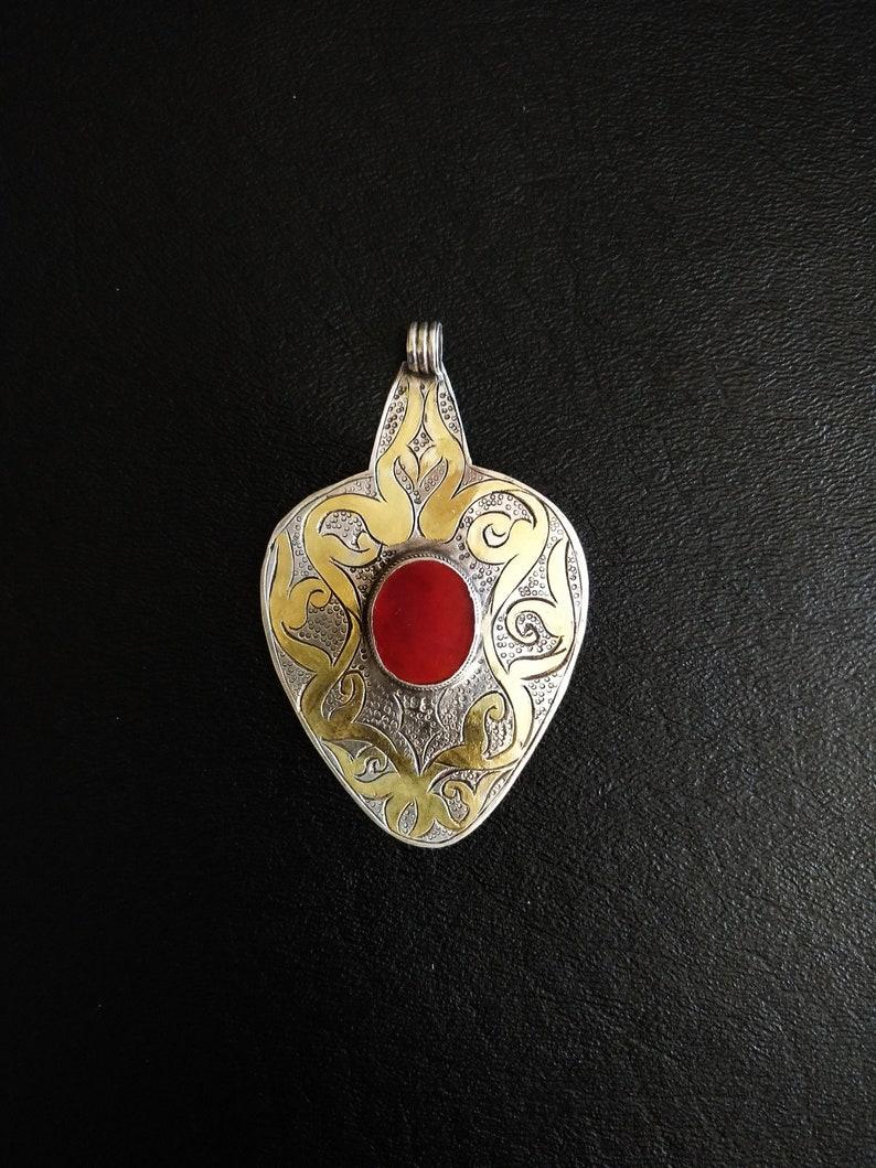 TURKMEN YOMUD PENDANT Antique Yomud Asyk Turkmen Silver image 0