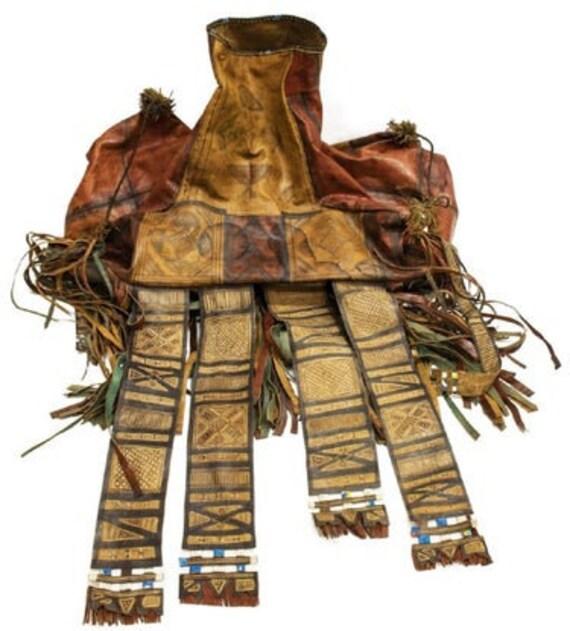 TUAREG CAMEL BAG circa 1950 large antique African Tuareg leather camel saddle bag with tassels Tuareg Touareg used saddle leather bag