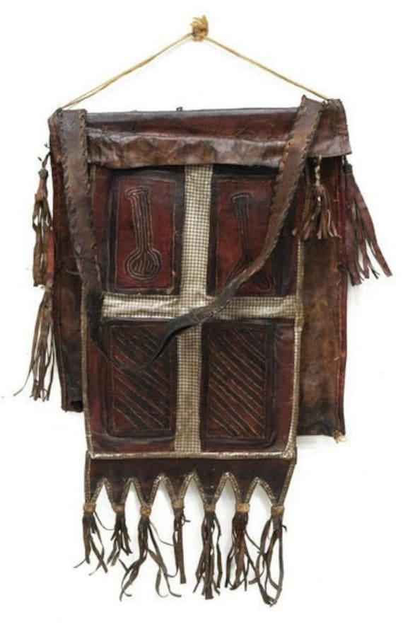 TUAREG LEATHER BAG circa 1920 large Tuareg leather utility bag/pouch with tassels and bottom fringe Tuareg Touareg Antique leather bag