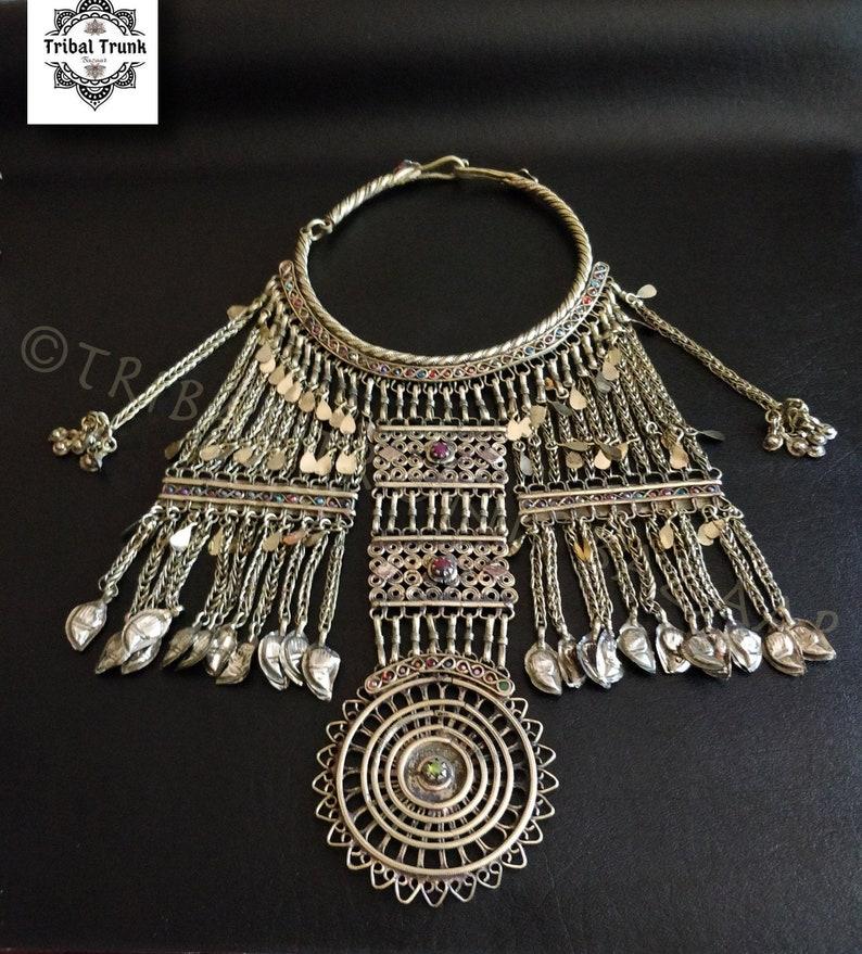 ETHNIC BIB NECKLACE Vintage Jalalabad wedding necklace image 0