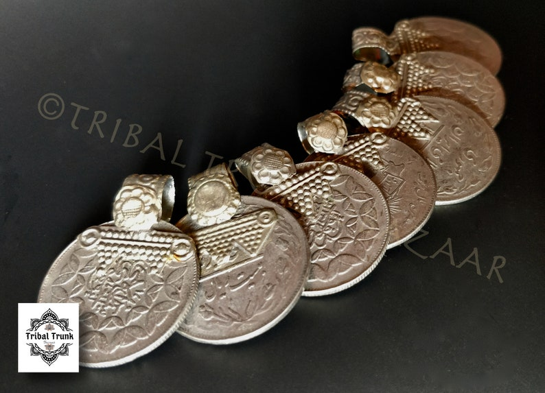 COLLECTIBLE COIN PENDANTS 7 Vintage Kuchi jumbo rupee coins image 0