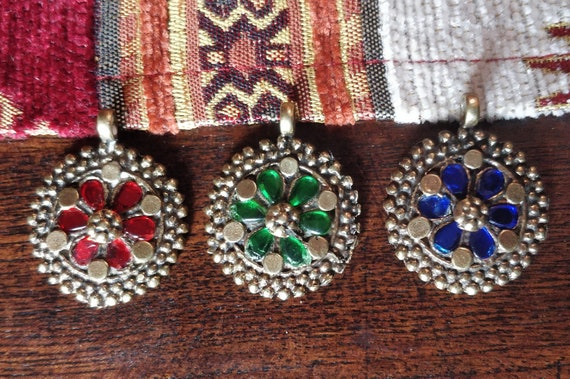 COLORFUL KUCHI PENDANTS 3 Vintage Afghani pendant with jewel settings  and repousse for Boho diy jewelry cosplay costuming bags