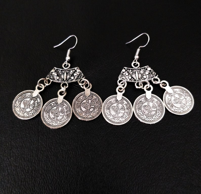 COIN DANGLE EARRINGS silver tone etched Earrings  triple coin image 0