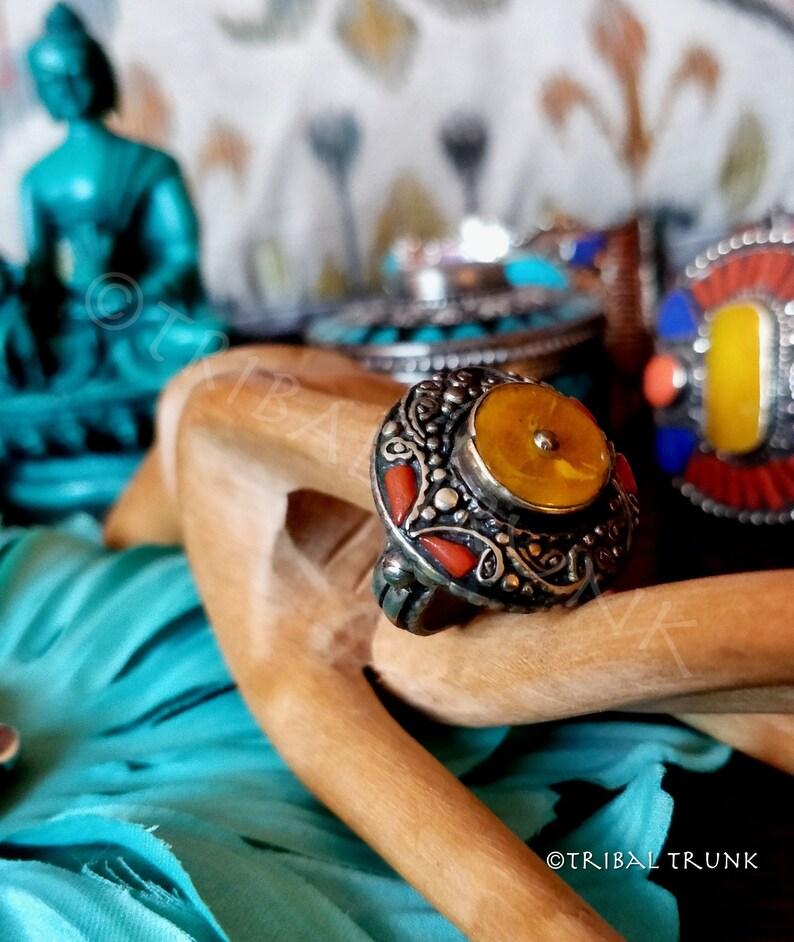 ORNATE TIBETAN RING Yellow Amber & Red Coral Inlay Tibetan image 0