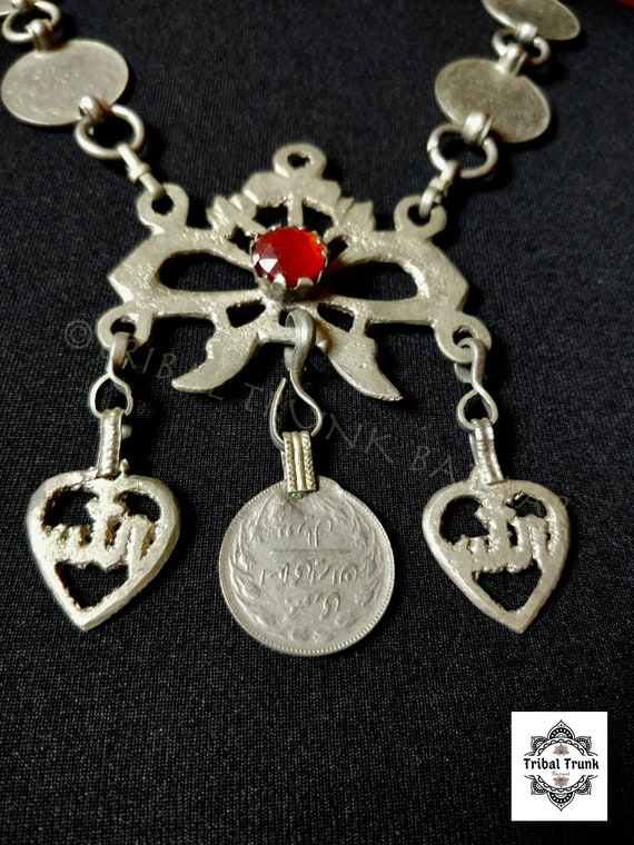 OLD HAZARAGI NECKLACE traditional chain bow-style pendant with rupees & focal jewel setting