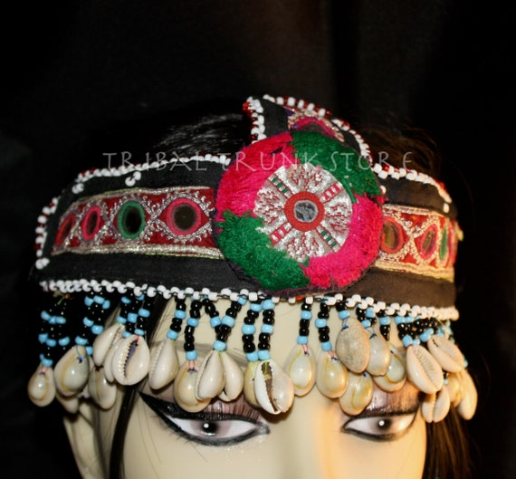 KUCHI HEAD-DRESS beaded Head adornment with shells, focal medallion and mirrors Tribal Trunk