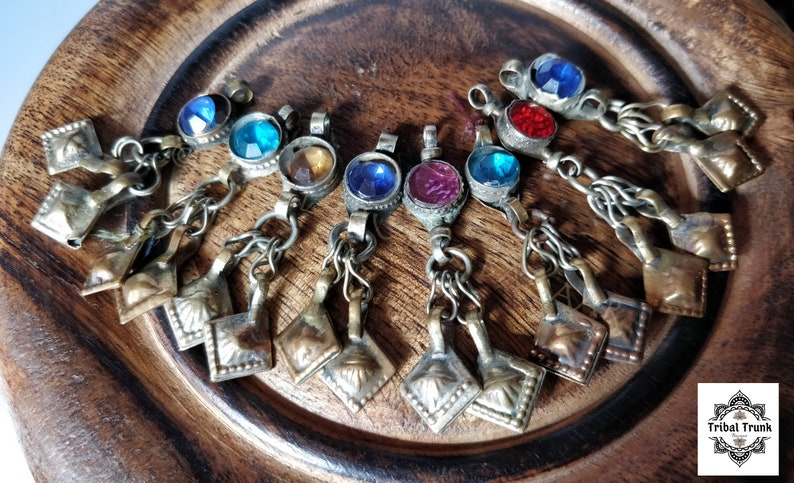 8 KUCHI JEWELED DANGLES  set of 8 very vintage dangles with image 0