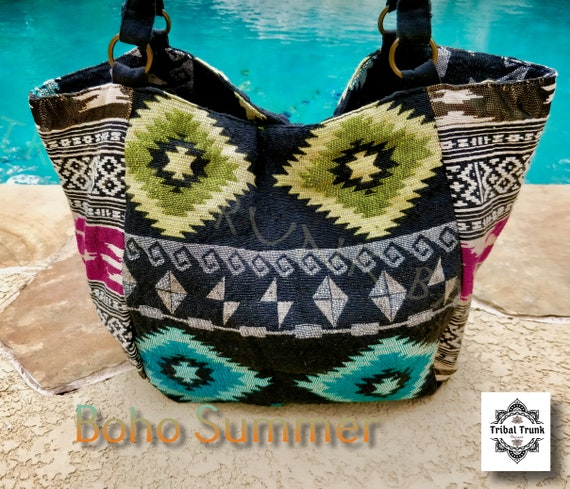 SOUTHWESTERN BOHO BAG Woven Canvas with beautiful tribal/gypsy/boho design lined shoulder bag with padded straps and inside pockets