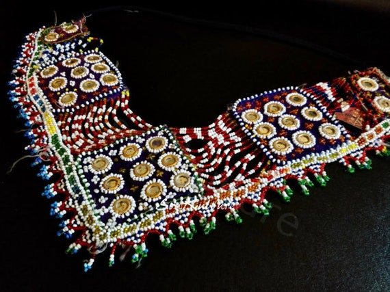 MIRRORED BEADED PATCH Rare Afghan Kuchi beaded body patch with shisha mirrors. Hard to find heavily ornate beaded piece for cosplay diy