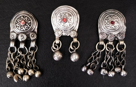 3 KUCHI WAZIRI PENDANTS 3 Vintage pendants with bell dangles, embossed etched domed with jewel settings diy cosplay jewelry bags belts bras