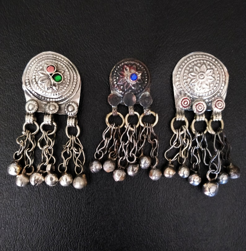 3 KUCHI WAZIRI PENDANTS 3 Vintage pendants with bell dangles image 0