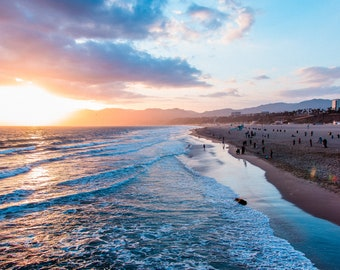 Sunsetting in Santa Monica - Beach - Travel Photography - Fine Art Photo - Pacific Ocean - Sunset
