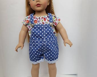Jeans overall for 18 inches dolls such as American Girl. Polka dot print jeans overall.
