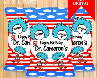 Thing 1 2 Chip Bags Cat In The Hat Birthday Party Favors