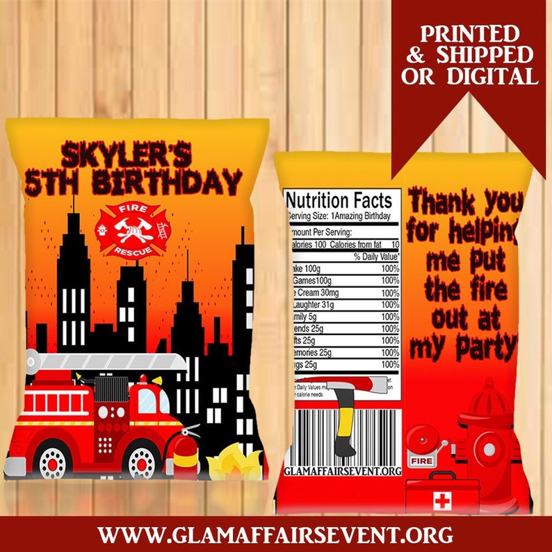 Custom Fire Truck Chip Bags Digital Printed Birthday Party Favor Bags