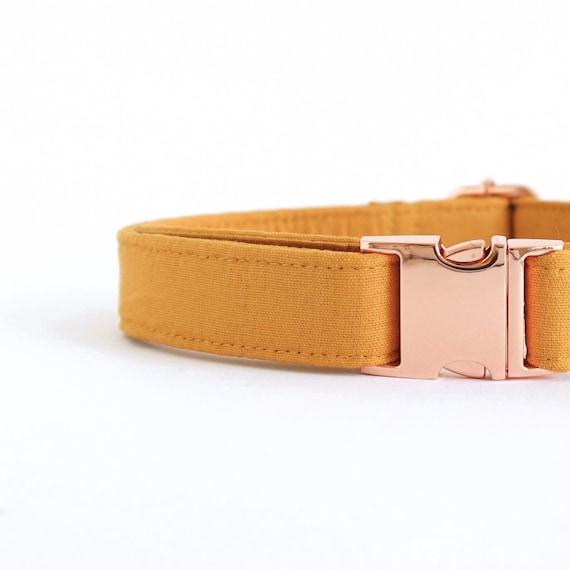 TURMERIC dog collar | Mustard Modern Cotton Dog Collar for Boy or Girl in  Rose Gold Silver | Flurr Collective