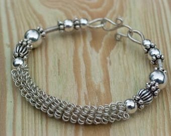 Bold Coiled Woven Sterling Silver Forged Bangle Bracelet -Hand-Crafted - One-Of-A-Kind - Laura Brothers