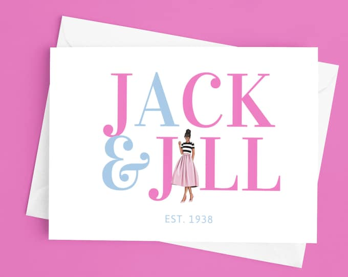 Custom 4x6 (10-Pack) Blank Note Cards With Envelopes/ Jack and Jill of America, Inc./ Personal Notes/ Greeting Cards/ African American/