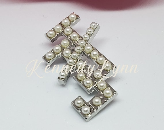 Faux pearl Jack and Jill of America, Inc. lapel pin