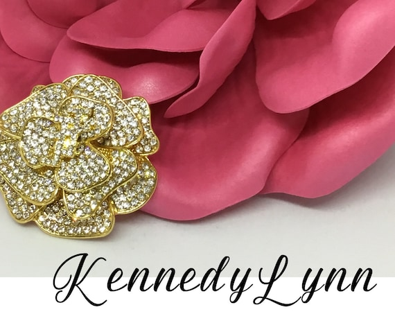 Crystal Gold Plated Rose Brooch