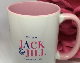 15oz Ceramic Pink and White Mug, Jack and Jill of America, Inc.
