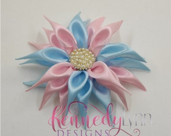Fabric flower brooch/ flower pin/ crystal brooch