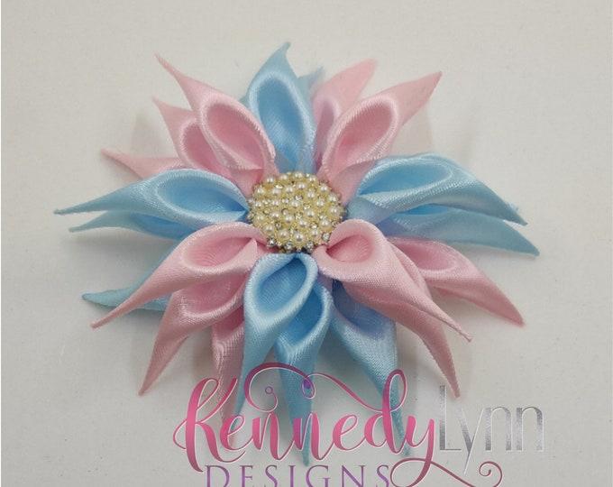 Fabric flower brooch/ flower pin/ crystal brooch