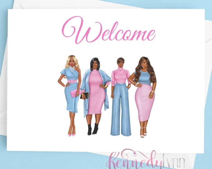 Custom 4x6 (10-Pack) Blank Note Cards With Envelopes/ Welcome/ Sorority / Greeting Cards/ African American/Jack and Jill/ Gamma Phi Delta