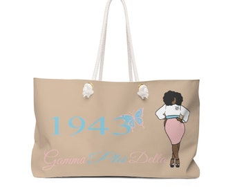 Gamma Phi Delta Sorority, Inc./  Weekender Bag/ Travel Bag/ Girls Trip/ Canvas tote