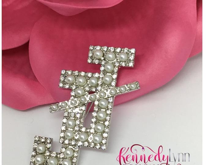 Jack and Jill of America, Inc. rhinestone and faux pearl brooch/Pearl pin/ Custom brooch/ Bling pin/ Bling brooch/ African American