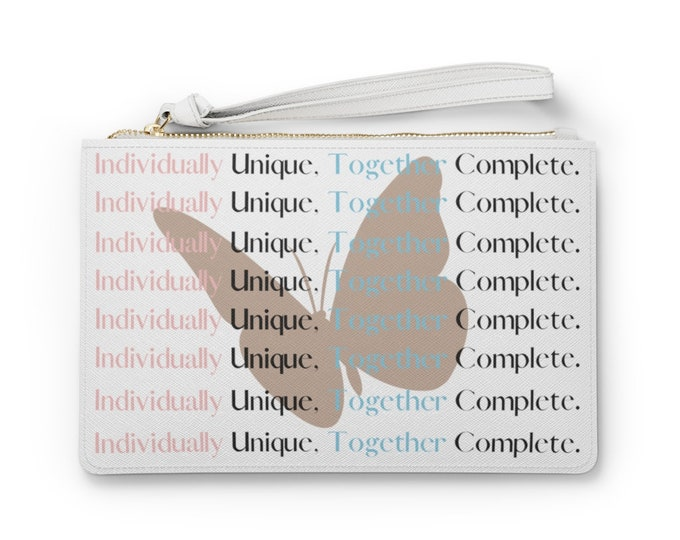 Individually Unique, Together Complete Butterfly Vegan Clutch Bag/ Gamma Phi Delta Sorority, Inc./ Travel Tote/ Accessory Bag