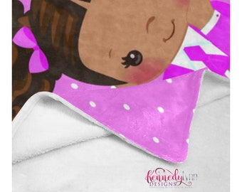 Cozy Jack and Jill Soft Fleece Blanket/ African American/ Natural hair/ Custom throw/ Afro puffs
