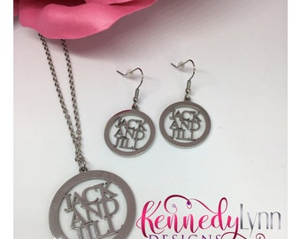 Jack and Jill of America, Inc. Necklace and dangle earrings set.