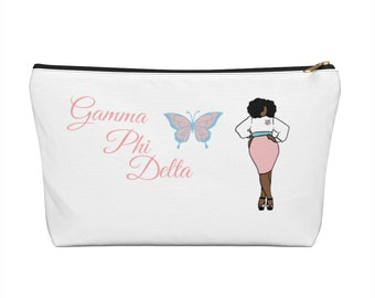 Gamma Phi Delta Sorority, Inc. Accessory Pouch w T-bottom/ Make-up Bag/ Cosmetic Bag/ Planner Bag/ School Bag