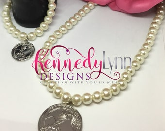 Glass pearl bead necklace and bracelet set/Glamour Set/African American Organization/ Jack and Jill