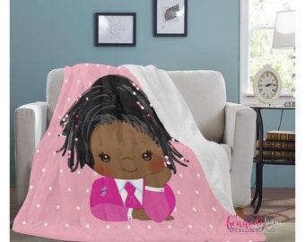 Cozy Jack and Jill Soft Fleece Blanket/ African American/ Natural hair/ Custom throw/ African braids