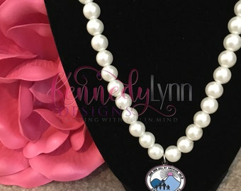 Faux pearl necklace with Jack and Jill emblem charm/Pearls/ Boss Mom/ Bling necklace/  African American