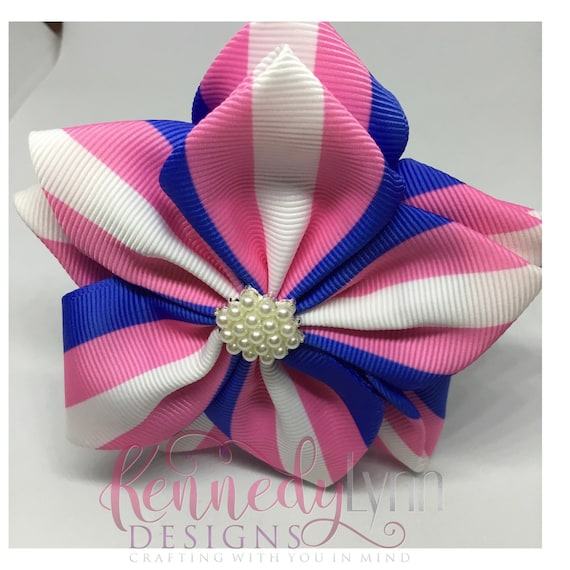 Pink and Blue Striped  fabric flower pin with pearl center brooch/ Flower pin/ brooch