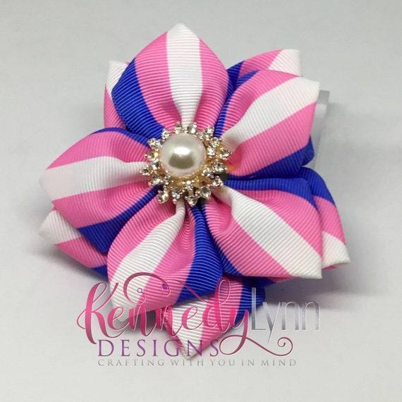 Stripped fabric flower pin with crystal pearl center brooch