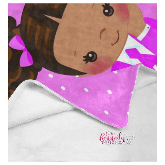 Cozy Jack and Jill Soft Fleece Blanket/ African American/ Natural hair/ Custom throw/Afro puffs