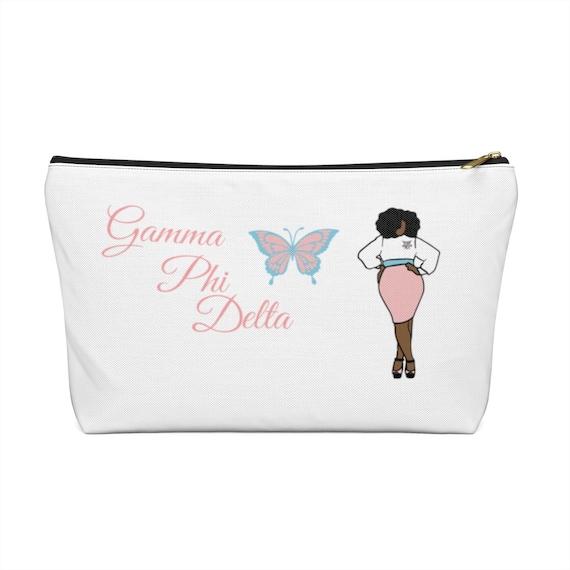 Gamma Phi Delta Sorority, Inc. Accessory Pouch w T-bottom/ Make-up Bag/ Cosmetic Bag/ Planner Bag/ School Bag