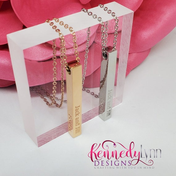 Jack and Jill Vertical Bar Necklace/ Engraved Necklace