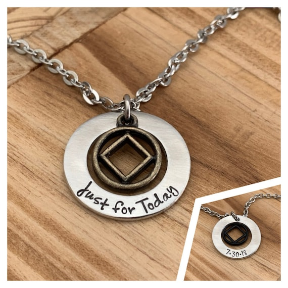 NA Jewelry, Narcotics Anonymous Symbol Necklace, Recovery Gifts, Just for Today, Recovery Date, Addiction Recovery